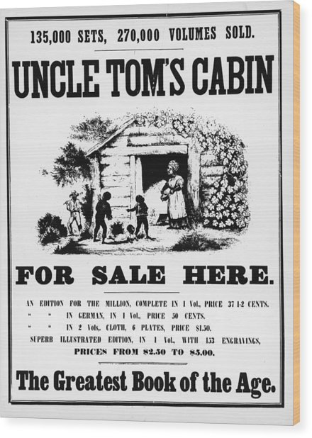 Poster For Uncle Toms Cabin Wood Print by Kean Collection