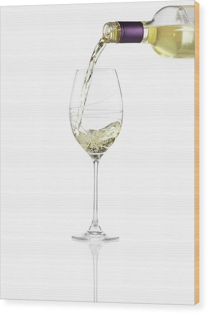 Pouring A Glass Of White Wine Wood Print by Steven Krug