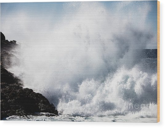 Powerful Waves Explode Against The Wood Print