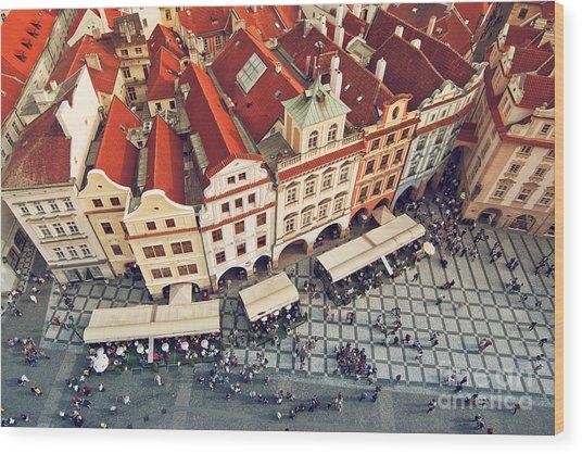 Prague Rooftops, Beautiful Aerial View Wood Print