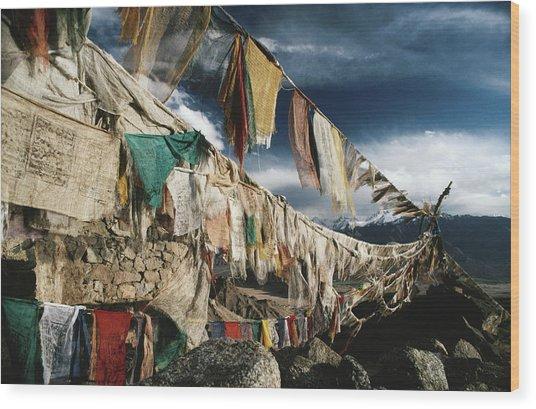 Prayer Flags Above Leh, Ladakh, Leh Wood Print by Richard I'anson