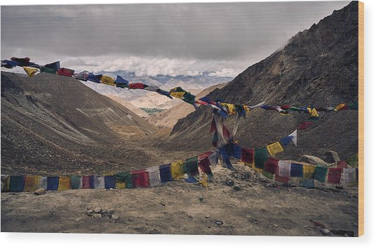 Prayer Flags In The Himalayas Wood Print