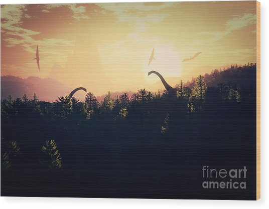 Prehistoric Jungle With Dinosaurs In Wood Print