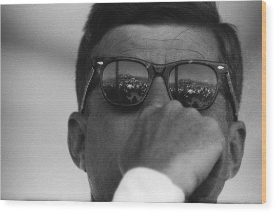 President Kennedy At San Luis Dam Wood Print by Michael Ochs Archives