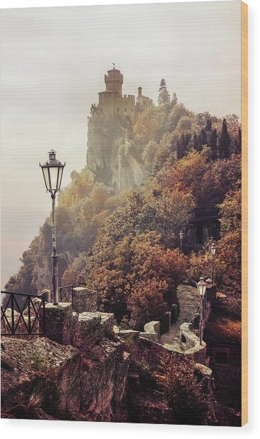 Pretty Autumn Morning In San Marino Wood Print