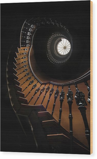 Pretty Brown Spiral Staircase Wood Print