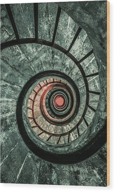 Pretty Green Spiral Staircase Wood Print
