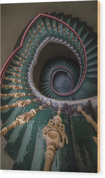 Pretty Old Ornamented Staircase Wood Print