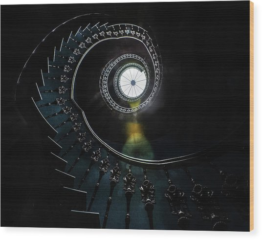 Pretty Ornamented Spiral Staircase Wood Print