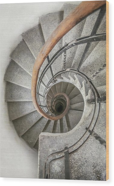 Pretty Stone Spiral Staircase Wood Print