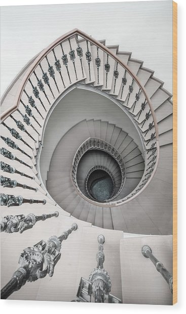 Pretty White Spiral Staircase Wood Print