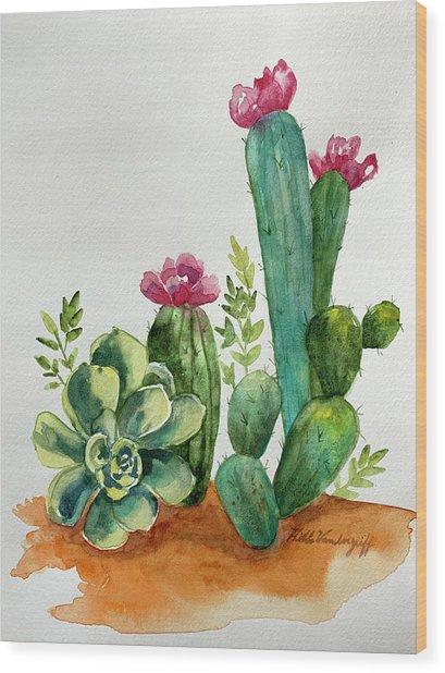Prickly Cactus Wood Print
