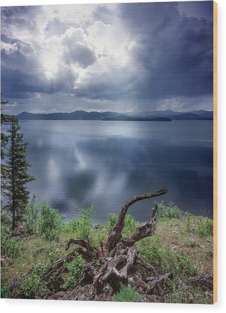 Priest Lake Light Wood Print by Leland D Howard
