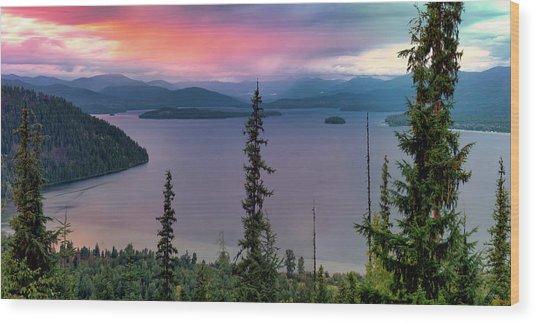 Priest Lake Sunset View Wood Print by Leland D Howard