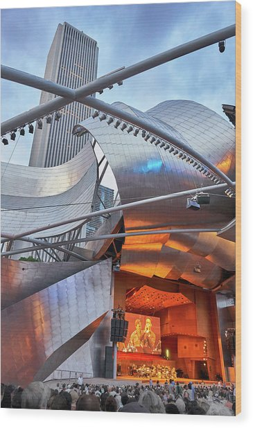 Pritzker Pavilion 2018 Chicago Jazz Festival Wood Print by Jim Hughes