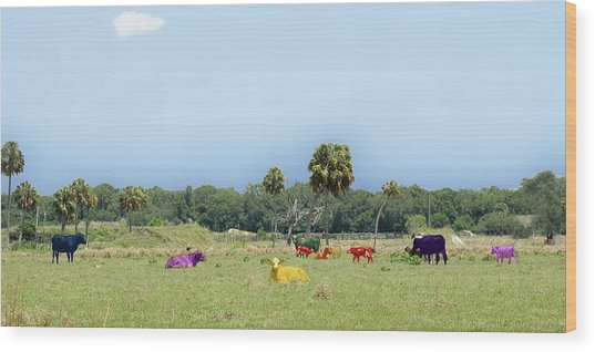 Psychedelic Cows Wood Print