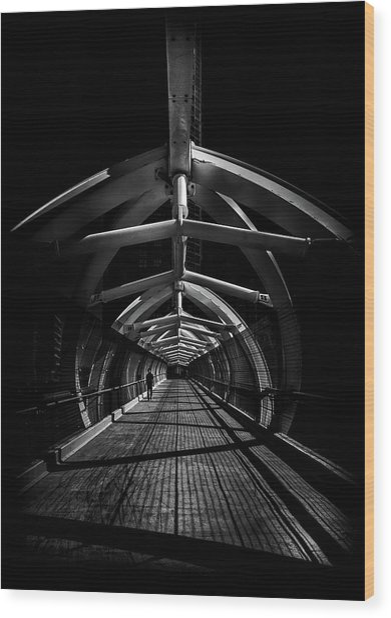 Wood Print featuring the photograph Puente De Luz Pedestrian Bridge Toronto Canada No 1 by Brian Carson