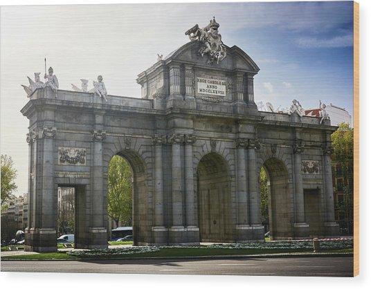 Puerta De Alcala In Madrid, Spain Wood Print