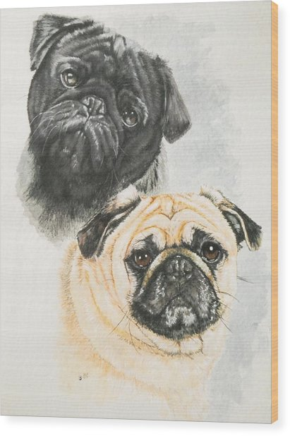 Wood Print featuring the painting Pug Brothers In Watercolor by Barbara Keith