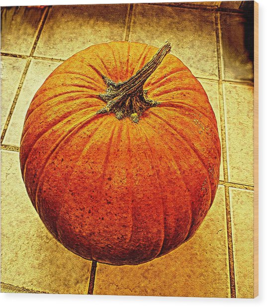 Pumpkin On Tile Wood Print by Keith Cassatt