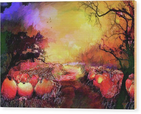 Wood Print featuring the painting Pumpkin Patch by Valerie Anne Kelly