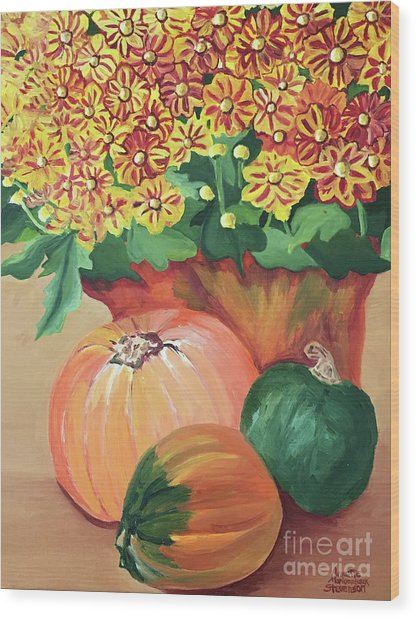 Pumpkin With Flowers Wood Print