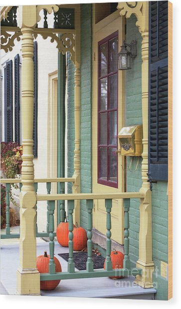 Pumpkins On The Porch Lambertville Wood Print