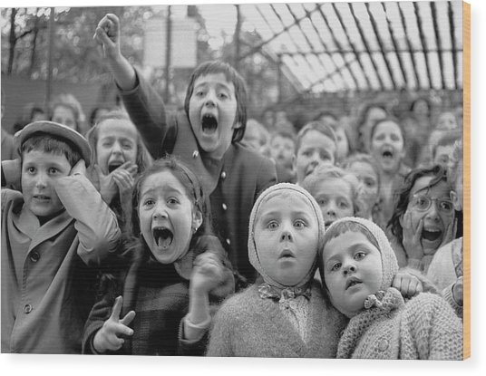 Puppet Audience Wood Print by Alfred Eisenstaedt