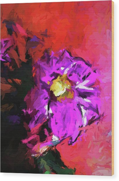 Purple And Yellow Flower And The Red Wall Wood Print