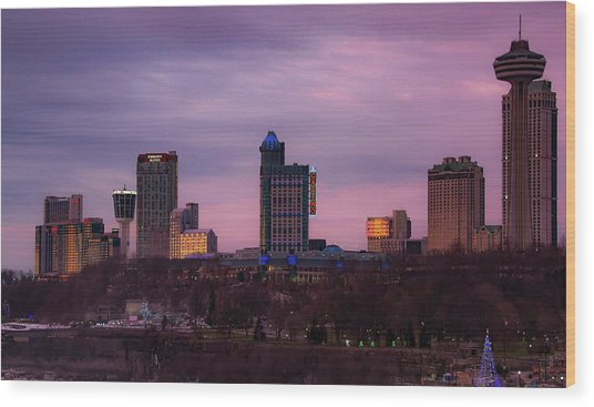 Purple Haze Skyline Wood Print
