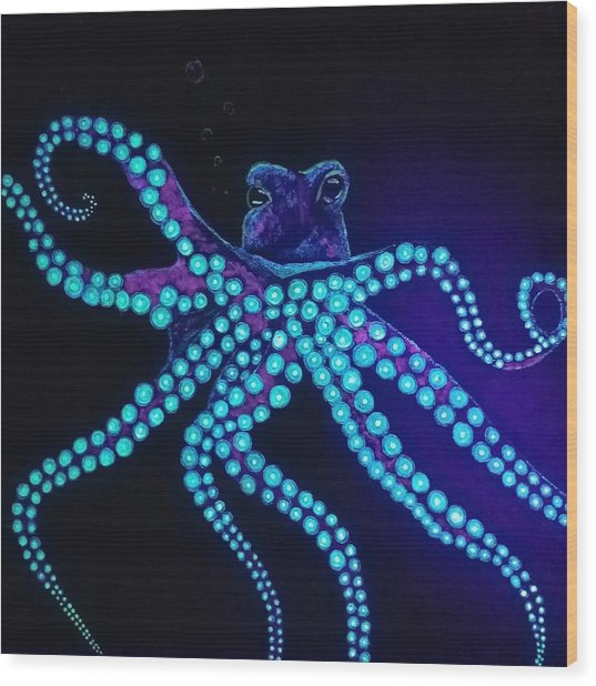 Purple Octopus  Wood Print
