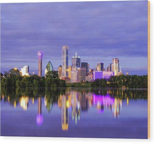 Purple Rain City Of Dallas Texas Wood Print