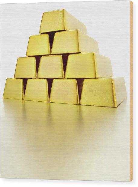 Pyramid Of Gold Bars Wood Print by John Kuczala