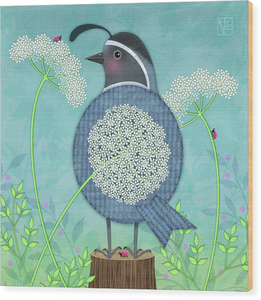 Q Is For Quail And Queen Anne's Lace Wood Print