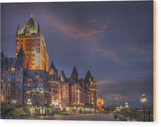 Quebec City, Chateau Frontenac Hotel Wood Print by Buena Vista Images