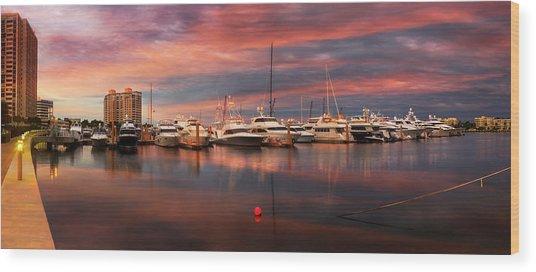 Quiet Evening On The Marina Wood Print
