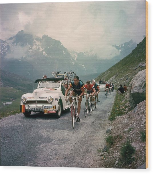 Racing Cyclists Of The Tour De France Wood Print by Keystone-france