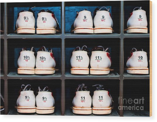Rack With Shoes For Bowling In Wood Print