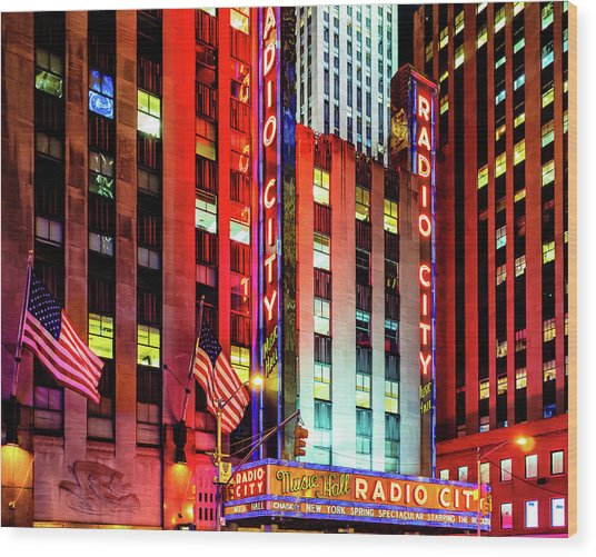 Wood Print featuring the photograph Radio City Music Hall by Miles Whittingham