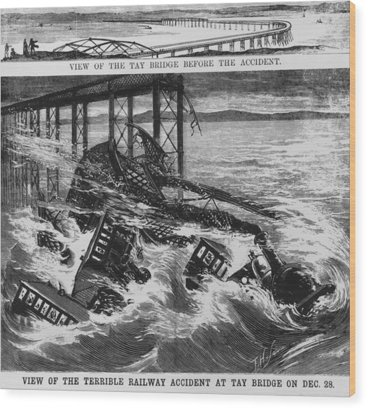 Railway Accident Wood Print by Hulton Archive