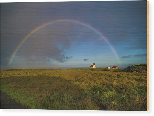 Rainbow At Point Cabrillo Wood Print