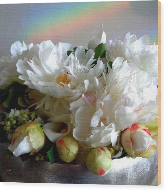 Rainbow Buds N' Blooms Three Wood Print