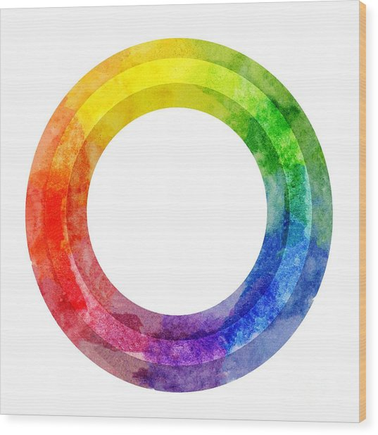 Rainbow Color Wheel Wood Print