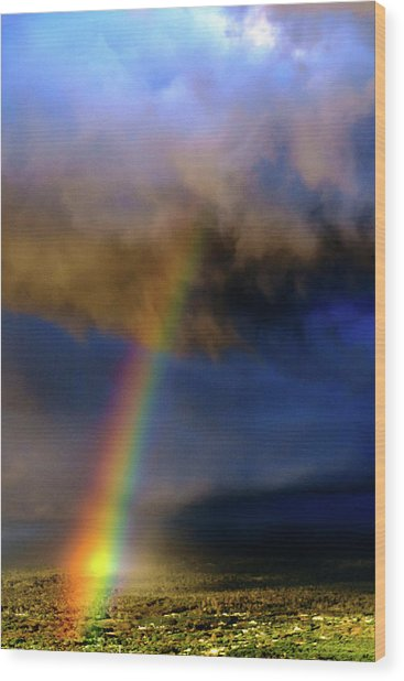 Rainbow During Sunset Wood Print