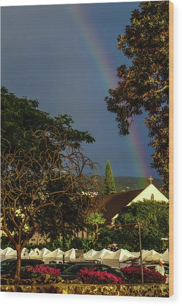 Rainbow Ended At The Church Wood Print