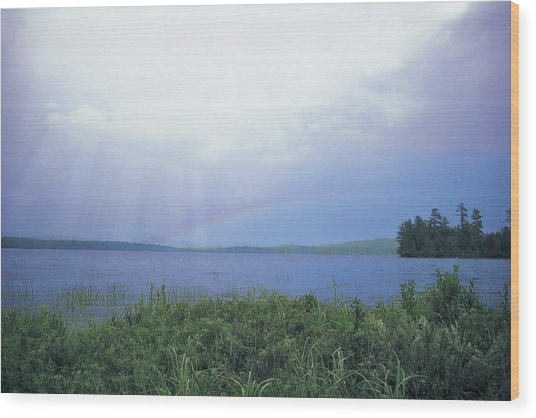 Rainbow Over Raquette Lake Wood Print