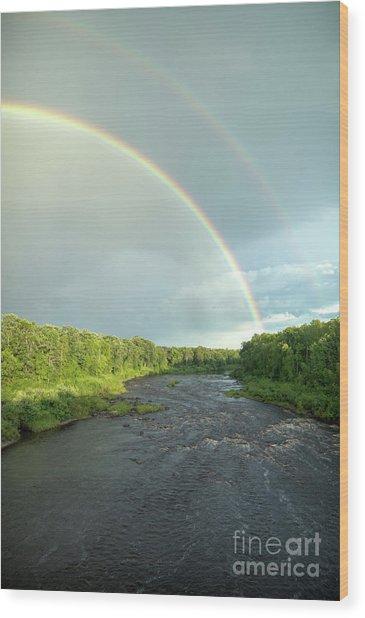 Rainbow Over The Littlefork River Wood Print