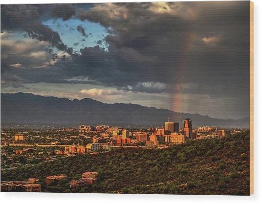 Rainbow Over Tucson Wood Print