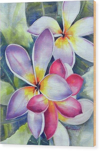 Rainbow Plumerias Wood Print