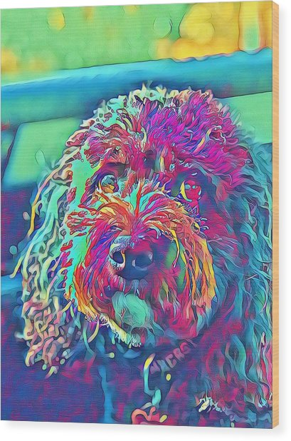 Rainbow Pup Wood Print